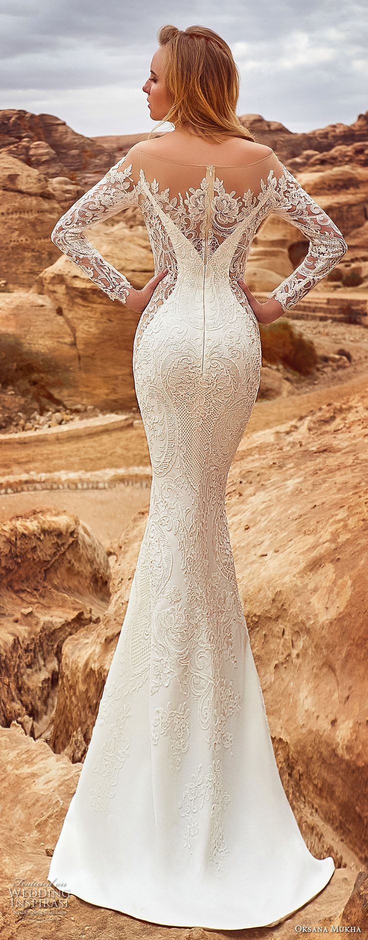 oksana mukha 2018 bridal long sleeves off the shoulder sweetheart neckline full embellishment elegant glamorous fit and flare wedding dress sheer lace back sweep train (armadea) bv -- Oksana Mukha 2018 Wedding Dresses
