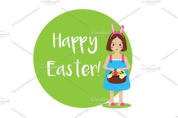 Cute Easter girl with greetings by KSU's Little Shop on @creativemarket