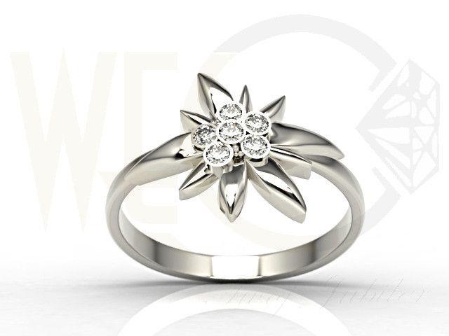 Pierścionek Szarotka Alpejska z białego złota z diamentami / Flower-shaped ring made from white gold with diamonds/ 1494 PLN #jewellery #jewelry #gold #ring #diamonds #bizuteria #flower