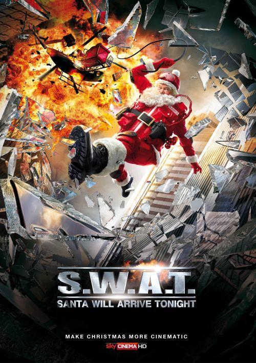 sky propaganda natal papai noel filmes de ação poster swat