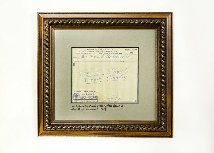 Framed Medical Prescription written by Dr. L. Nelson Bell
