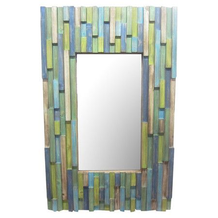 Textured wall mirror in tonal aqua.    Product: MirrorConstruction Material:  MDF and mirrored glassColo...