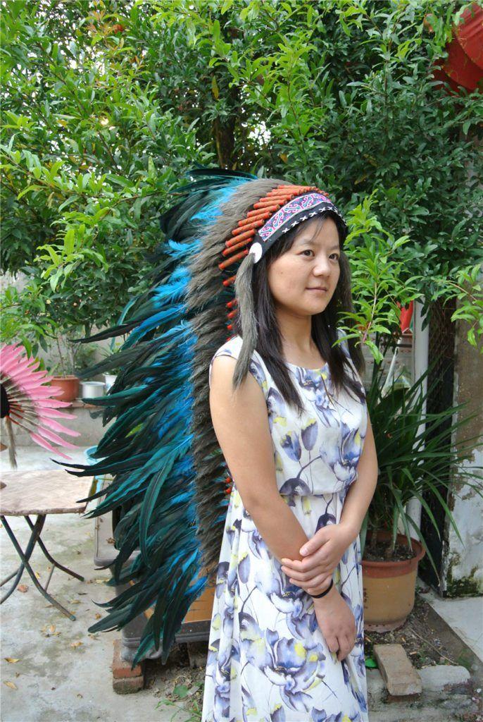 36 Inch Turquoise Black Feather Headdress //Price: $157.50 & FREE Shipping //     #edmfamily