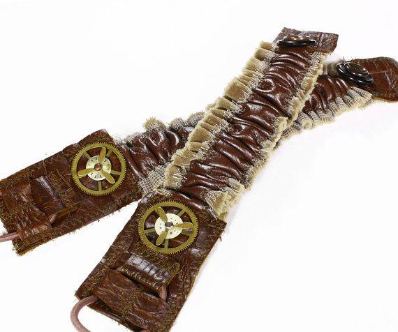 Steampunk Shirt Garters Mens Sleeve Garter Brown Mixed Leathers Gear Buttons Arm Band Cuff BURNING MAN Biker Rocker - Clothing by edmdesigns qO5YBf7e