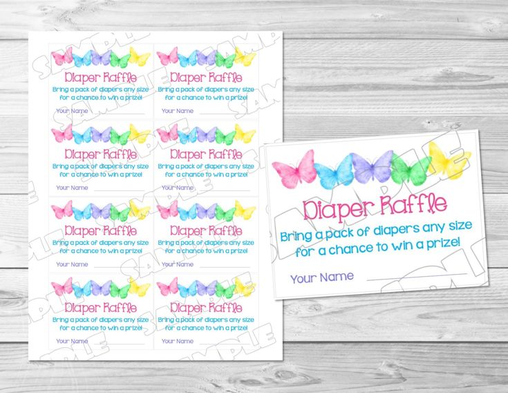Perfect Butterfly Baby Shower Games Diaper Raffle Insert Cards Printable INSTANT  DOWNLOAD Spring Butterfly Watercolor Baby Shower