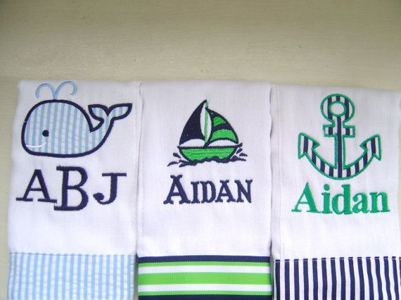 So cute. must. have.   Baby Boy Monogrammed Burp Cloth Set with an by flauntthename, $27.00