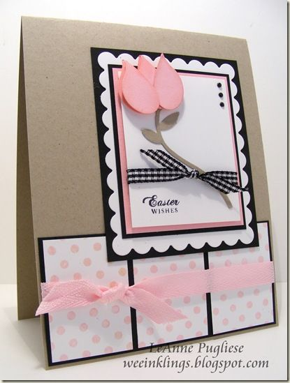 handmade Easter card ... punch art tulip ... like this color combo of white, pink and kraft thw black lines from layering ...