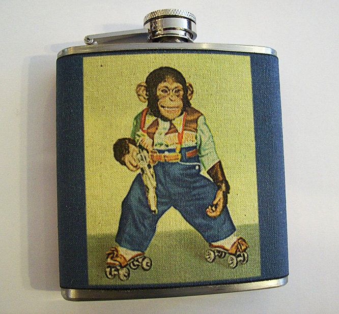 retro monkey flask vintage cartoon zippy the chimp animal kitsch