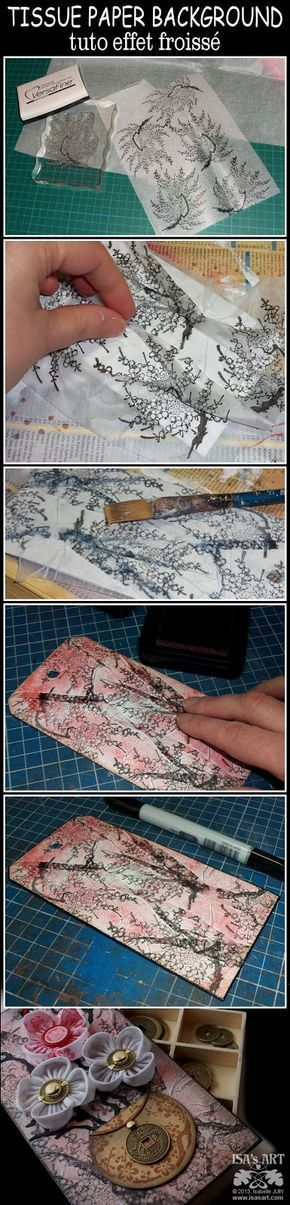 a background technique with tissue paper . first cut a tag and cover with gesso. cut a piece of tissue paper about twice the size of tag, stamp with Versafine black ink. cover tag with glue. wrinkle tissue. press stamped tissue on tag and added more glue on top, pressing on the folds. To get a better finish, don't cut the extra tissue but use a sanding block instead.
