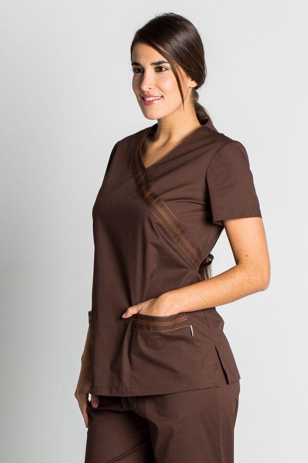 Blouse tunique médicale marron stretch -Casaque médicale femme