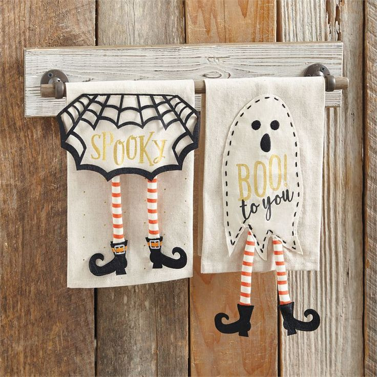 Halloween Dangle Leg Linen Hand Towel | Halloween Home Decor | Pumpkins | Witch and Witches | Witch Halloween Decorations | Halloween Decorations | Ghosts