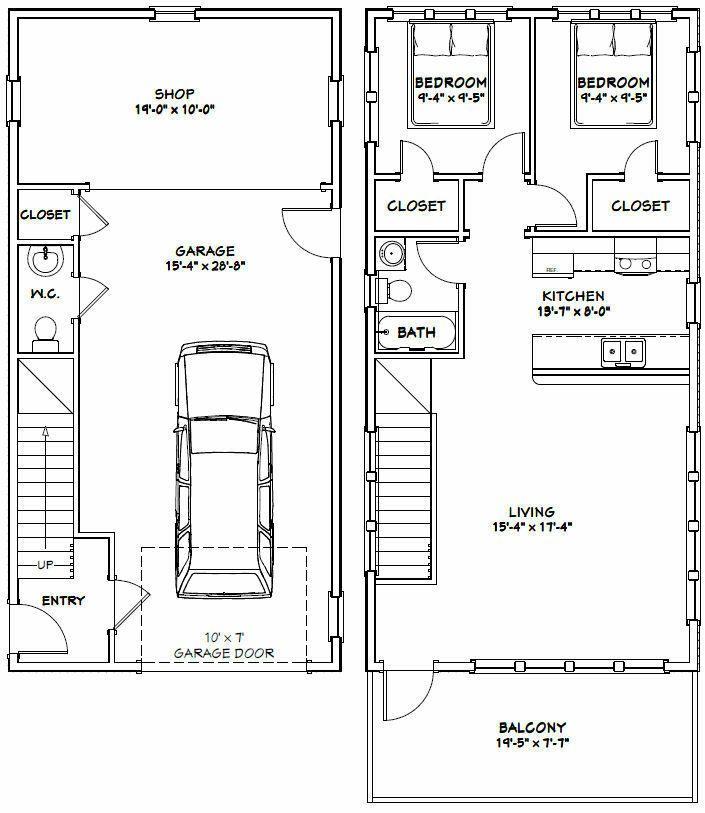 20x40 House 2 Bedroom 1 5 Bath 1 053 Sq Ft Pdf Floor Plan Model 6a 29 99 Piccli Garage Apartment Floor Plans Floor Plans Apartment Floor Plans