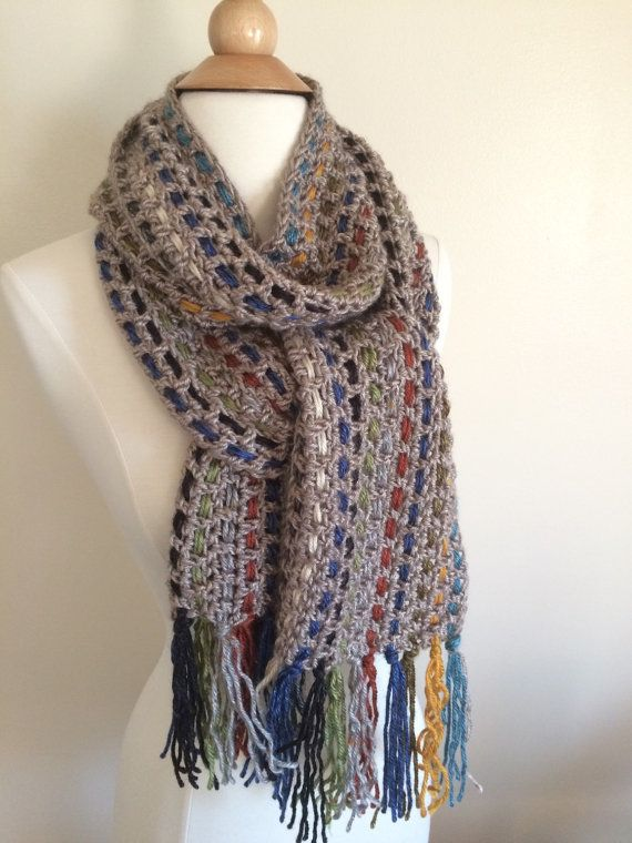 Woven Scarf with Tassels  Long Woven Scarf  by junebuggerie