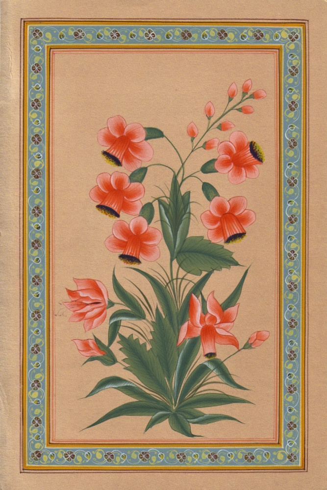 Floral painting, Mughal style miniature