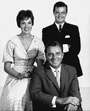 Julie Andrews, Robert Goulet and Richard Burton in a 1960 publicity photo for the play, Camelot