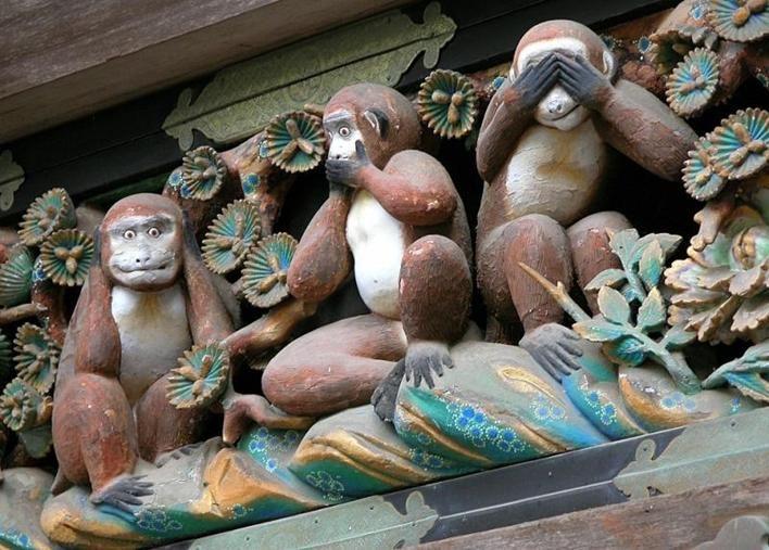 Three monkeys. Hear, see and speak no evil. Die drei Affen, die nichts hören, sehen und sagen. De drie horen, zien en zwijgen apen. Les trois singes de la sagesse