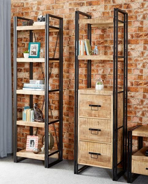 instrument BRICK slim bookcase 3 drawers reclaimed wood and metal – INSTRUMENT FURNITURE