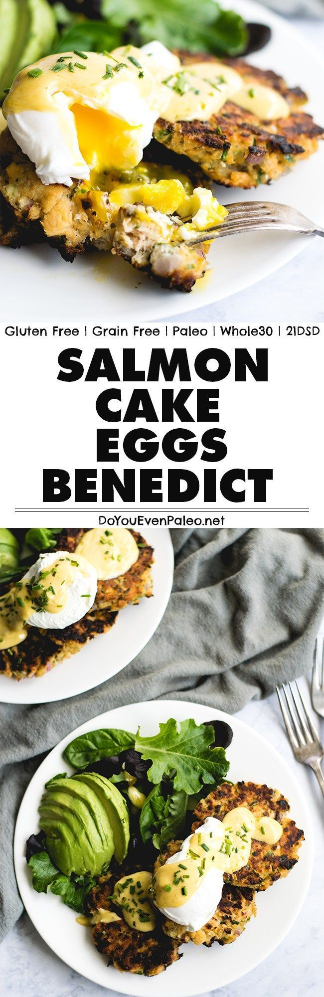 Want to take grain free salmon cakes to the next level? Top 'em with poached eggs and hollandaise. This paleo salmon cake eggs benedict will leave you drooling! | DoYouEvenPaleo.net