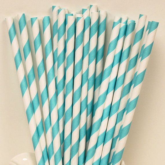 Tiffany Blue Striped Paper Straws, 25 Paper Drinking Straws with DIY Flags, Tiffany Blue, Parties, Wedding, Drinks, Party Straws via Etsy