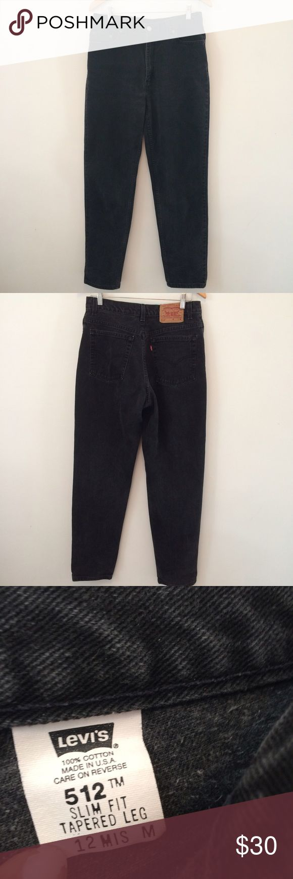 """Vintage Levi's 512 high waist mom jeans black Great condition. Faded black mom Jean. Tag says size 12 fit like a 10. Inseam 28"""" waist measures 15.5 Levi's Jeans Boyfriend"""