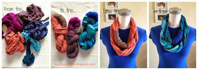 From Bare Hands: Tutorial: DIY Fabric Scraps Scarves