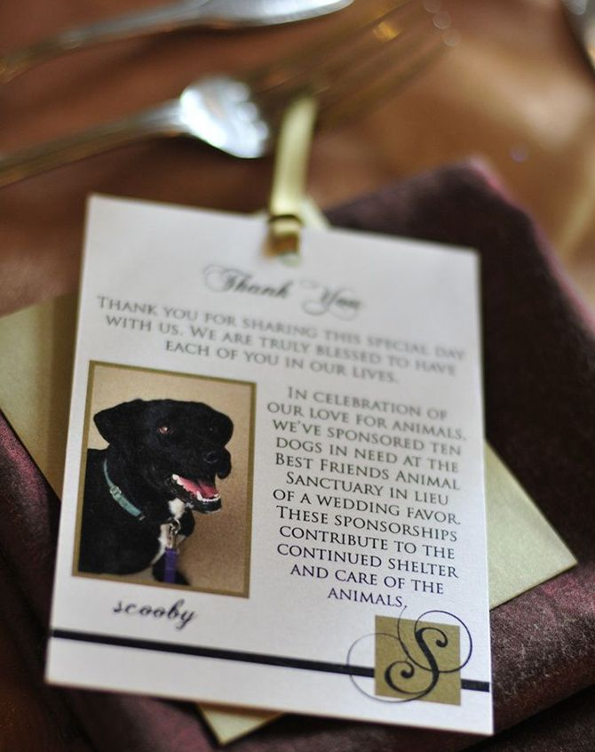 wedding favors dog charity donation wedding favor in lieu of wedding ...