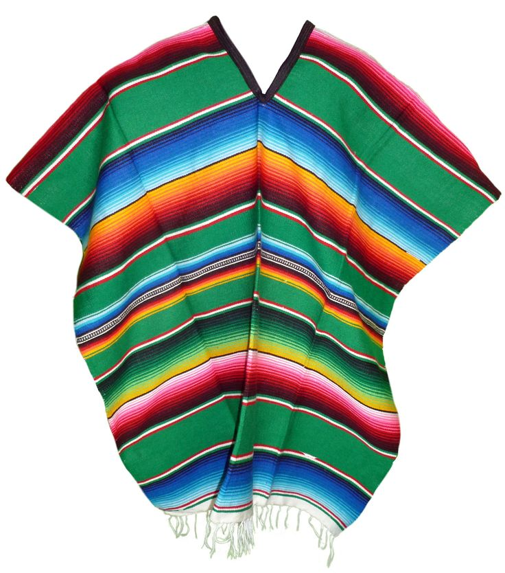 Serape Mexican Poncho - Green