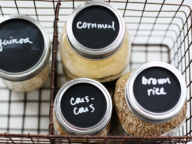This chalkboard mason jar craft is a great way to store grains (and other items) and label them neatly. Even if DIY crafts aren't your thing, you can handle this simple project that will help clean up your kitchen, stat.