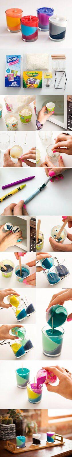Creatief idee: Kaarsen maken van waskrijtjes...