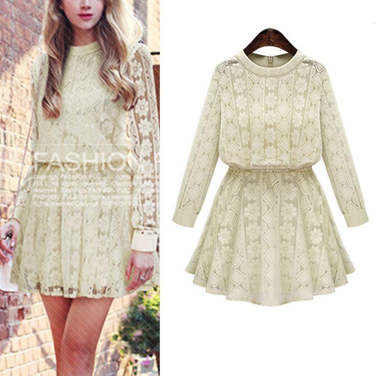 Plus size long sleeve elastic waist fall autumn dress xl 5xl