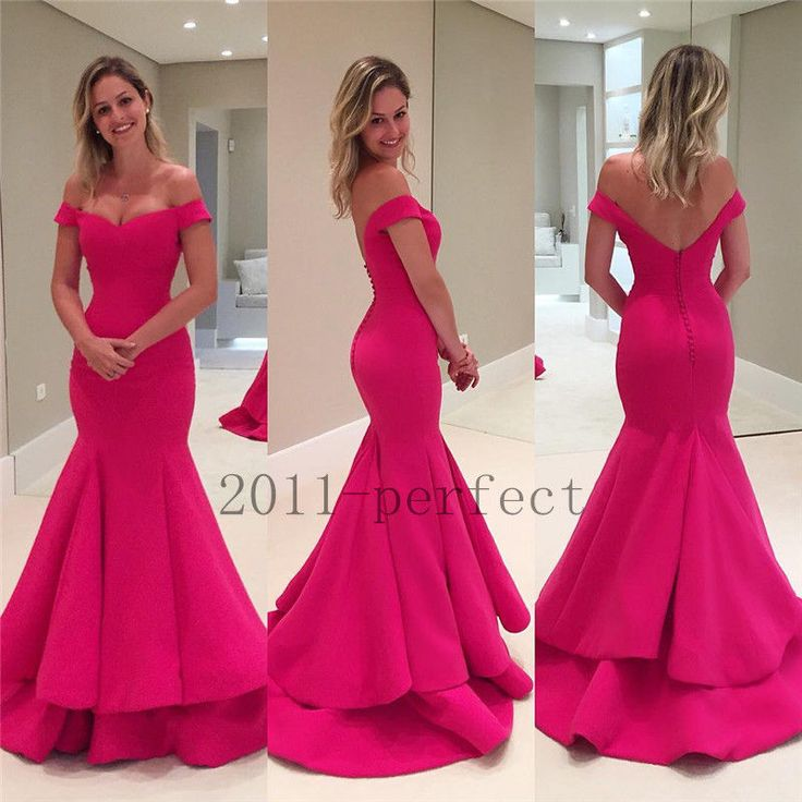 Mermaid Off Shoulder Long Formal Prom Party Gowns Custom Evening Dresses #Unbranded #Ballgown #Formal
