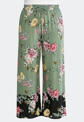 d8e65c33ef Cato Fashions Plus Size Olive Floral Palazzo Pants #CatoFashions ...