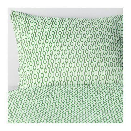 IKEA - RÖDVED, Quilt cover and 2 pillowcases, 150x200/50x80 cm, , The polyester/cotton blend is easy to care for since the fabric is less liable to shrink and crease.