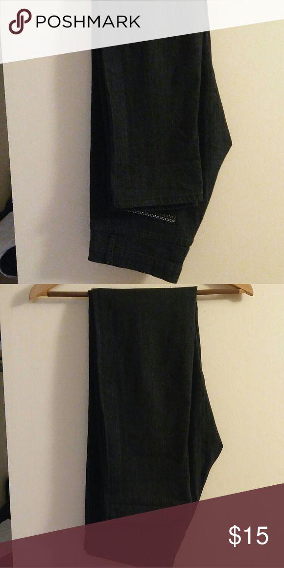 💕Black denim jeans💕 Black denim jeans with embellishments on back pockets size 9-10  Never Worn Jeans Straight Leg