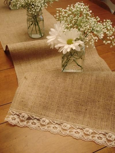 Burlap and lace table runner @