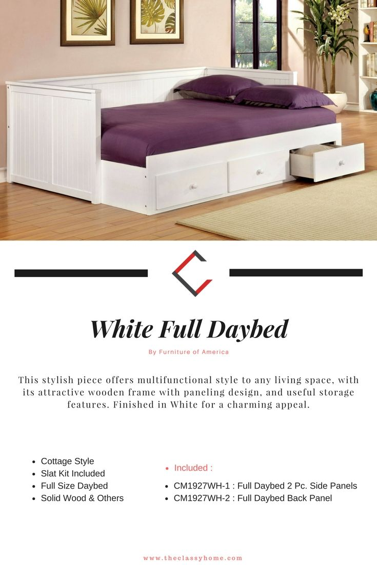 Furniture Of America Wolford White Full Daybed Furniture Full