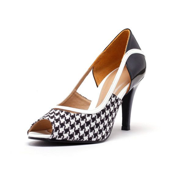 black checkered peep toe court shoes black and white heels