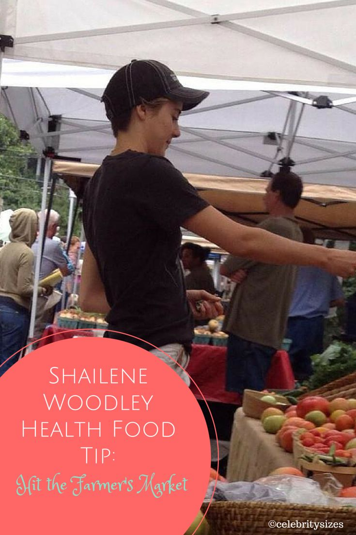 """My go-to [source for food], no matter where I am, I try to shop farmers' markets. It's obviously the most fresh, and it's also less expensive, and you get to communicate with the people who are planting the seeds and harvesting it themselves."" —Shailene Woodley ♥ If you enjoyed my pin, pls visit my celebrity site at http://www.celebritysizes.com/ ♥ #celebritysizes #celebritydiets #shailenewoodley"