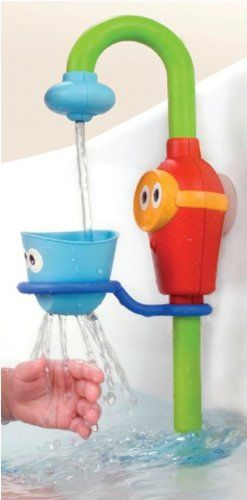 Amazon.com : Bath Toy - Flow N' Fill Spout with Three Stackable Cups And Automatic Water Pump : Bathtub Toys : Baby