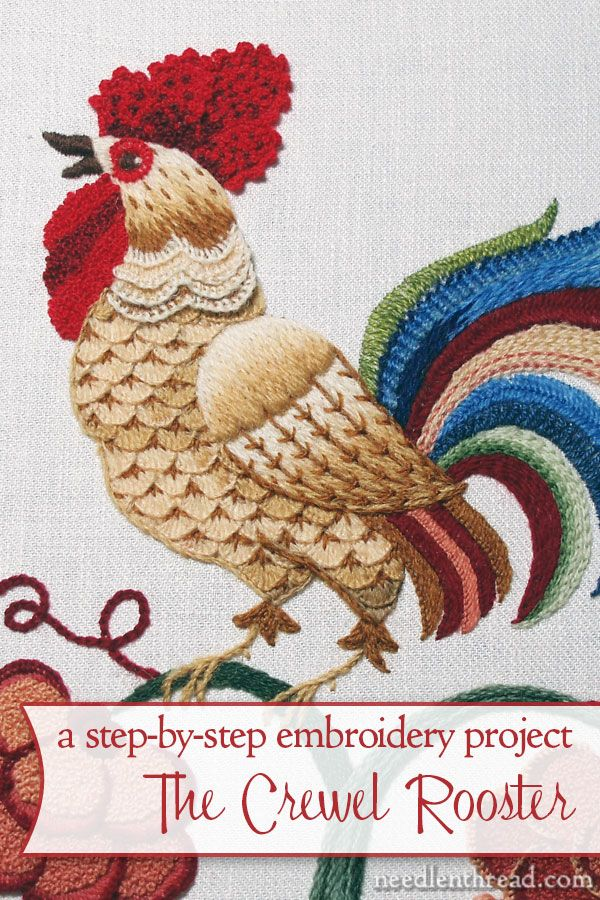 Do you love crewel embroidery? Are you wondering what types of wool threads are available to embroider with? Or are you just a fan of roosters? The Crewel Rooster is a crewel embroidery project developed step-by-step on Needle 'n Thread, with all the techniques, materials, tips, and tricks laid out for you. You can follow the project and create your own crewel rooster masterpiece, or just pick up some good tips for your own embroidery projects!
