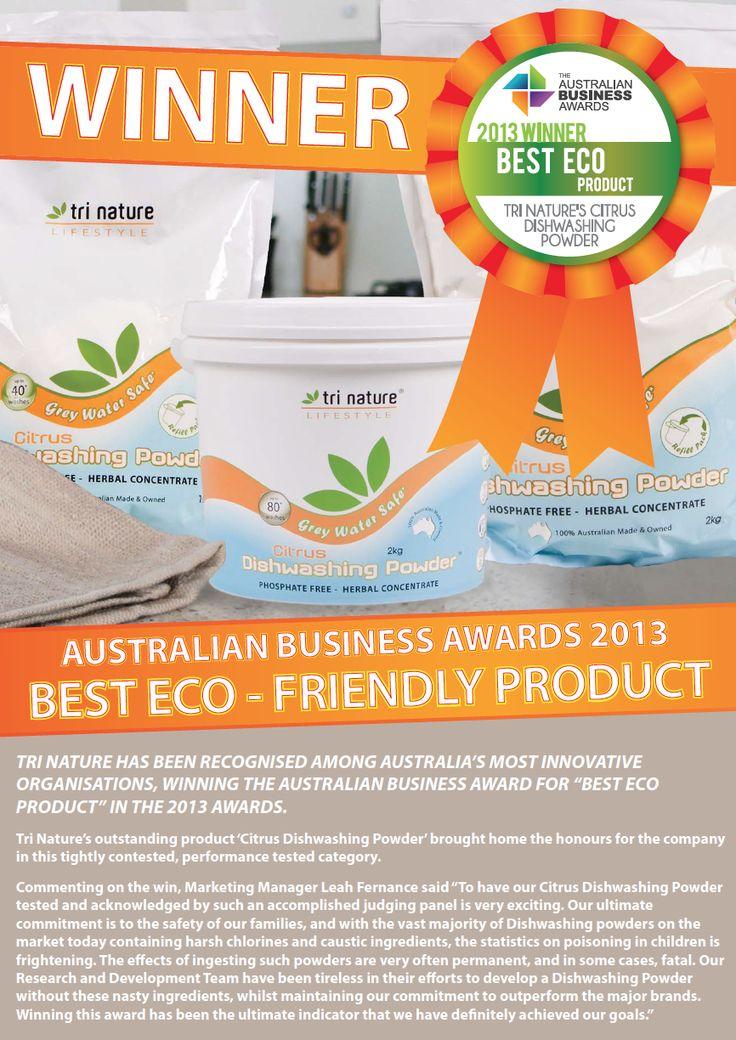 Winner 'Best Eco Product' 2013 - Tri Nature's Citrus Dishwashing Powder.