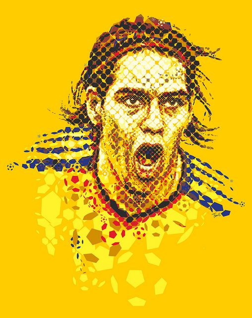 """Falcao: El Tigre Colombiano! A portrait of Radamel Falcao by Charis Tsevis for the special Falcao issue of the Colombian magazine """"Cromos""""."""