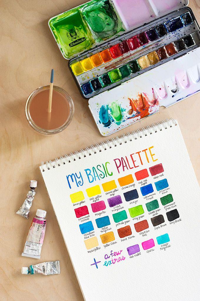 Watercolor basic supplies & techniques / Material básico para aquarela + técnicas