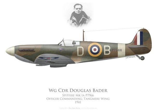 RAF, Spitfire Mk Ia, P7966, Wg Cdr Douglas Bader, Tangmere Wing, 1941.