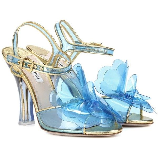 Miu Miu Leather-Trimmed Plastic Sandals (59.015 RUB) ❤ liked on Polyvore featuring shoes, sandals, blue, high-heel, high heeled footwear, miu miu, blue sandals, high heel sandals and miu miu shoes