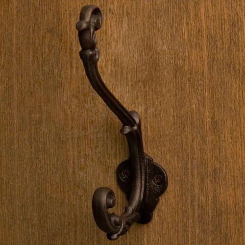 Solid Bronze Flourish Double Coat and Hat Hook -