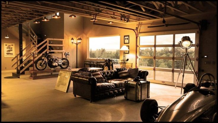 living room garage with leather furniture