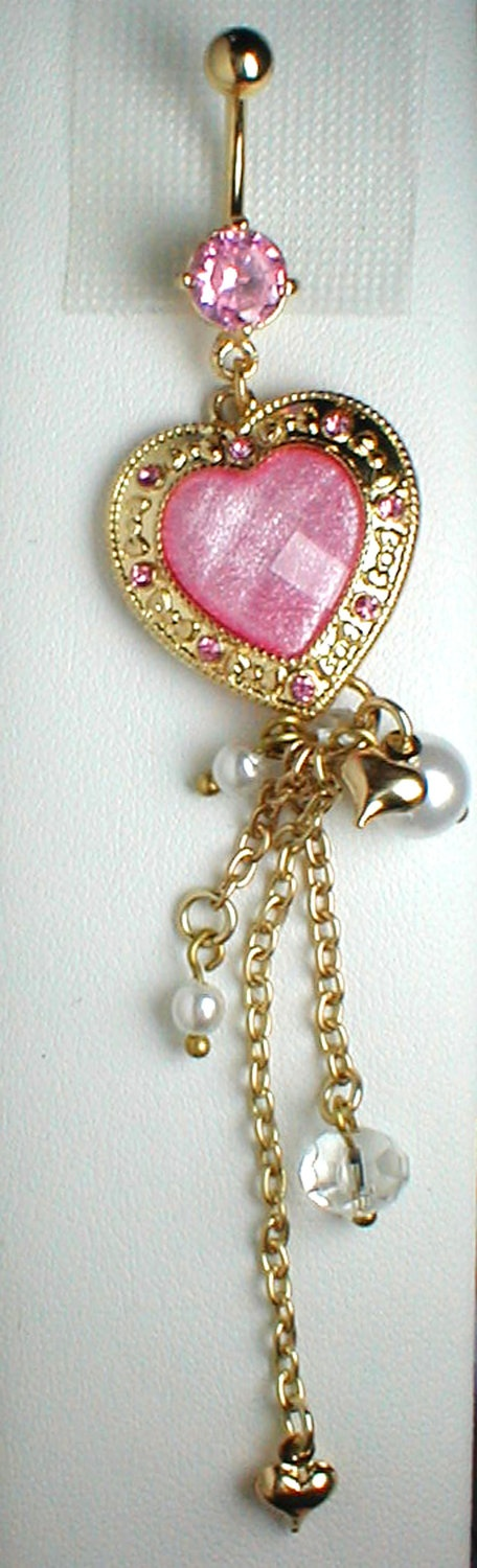 Unique Belly Ring - Trendy Heart with Pearls, Crystals & A Tiny Heart. $11.95, via Etsy.