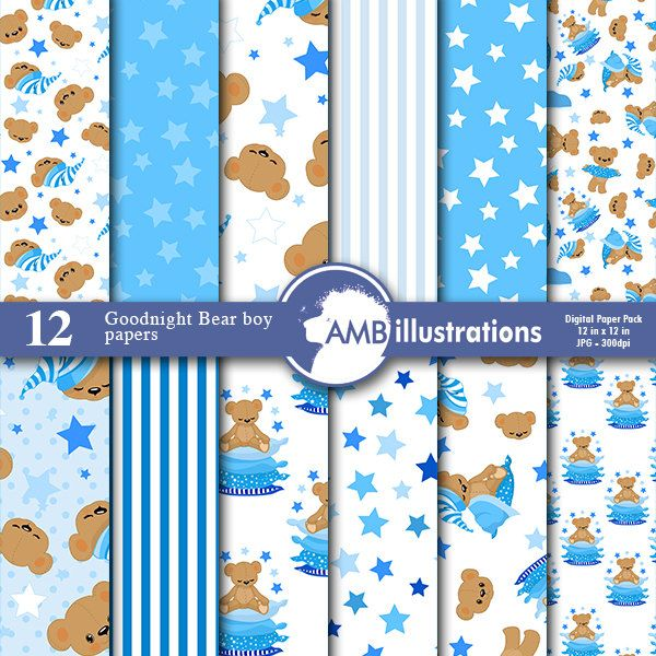 80%OFF Goodnight bear digital papers Nursery papers Slumber party papers It's a boy scrapbook papers commercial use AMB-985