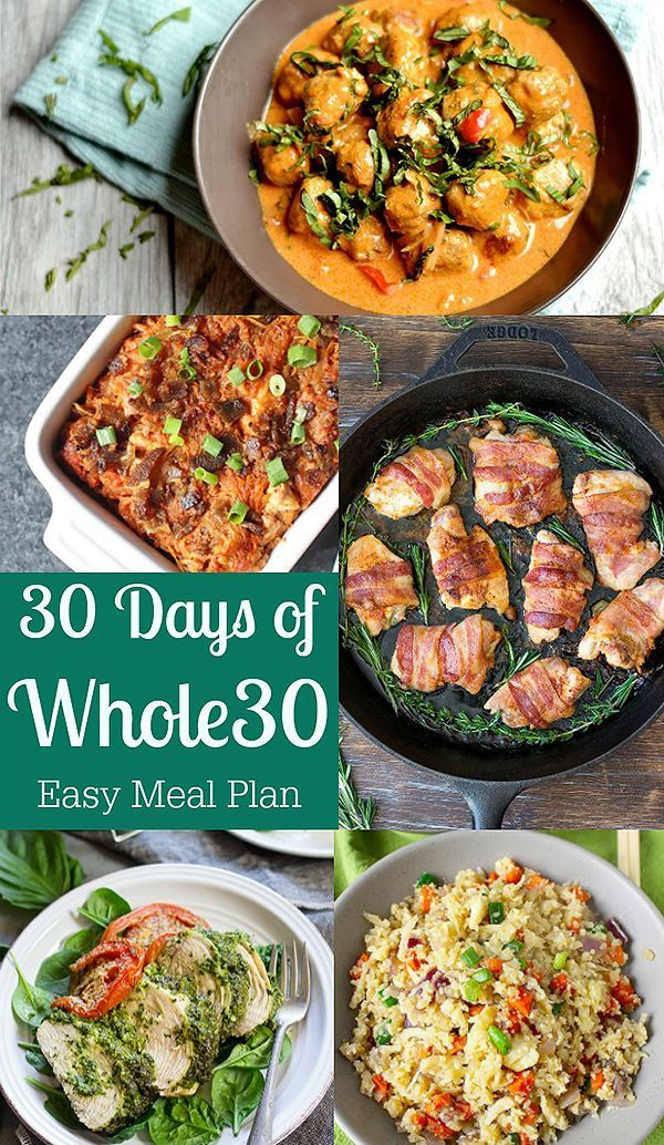 30 Days of Whole30- a whole month of healthy meals! Gluten free, dairy free, and all delicious! A great meal plan.